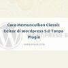 Cara Memunculkan Classic Editor di Wordpress 5.0 Tanpa Plugin